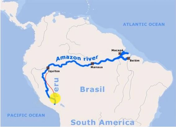 Amazon river on map
