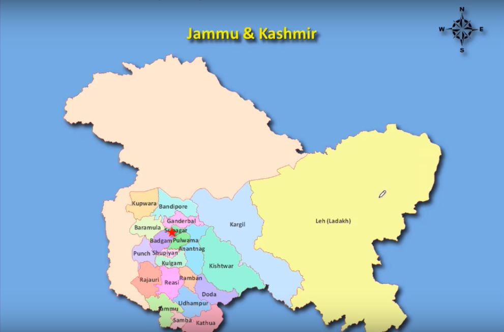districts of jammu and kashmir -new map of india