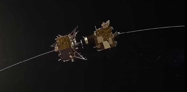 Orbiter and lander separating